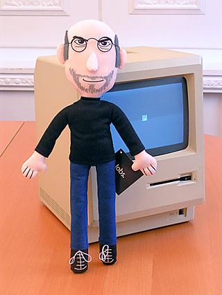Steve Jobs wearing his classic black turtleneck