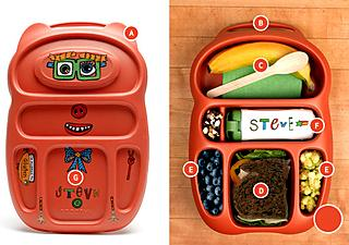 Each lunch box has 6 compartments in different sizes