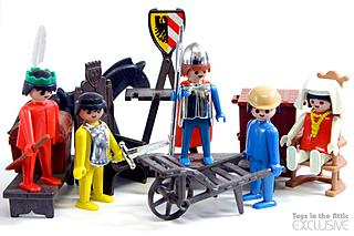 Indians, knights and building-site, first Playmobil toys circa 1974