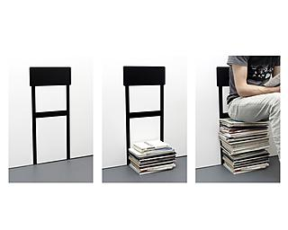 Pile up books and magazines to make a chair for your living room.