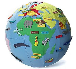 A cushy cloth earth globe with fabric stickers