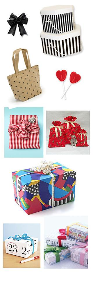 Use a box, a piece of fabric, a bag, gift-wrapping paper or newspaper print to wrap your present