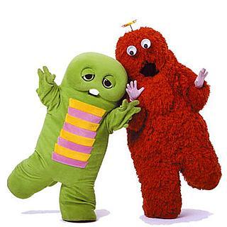 """Ponkicki"" characters Gachapin (left) and Mukku (right)"