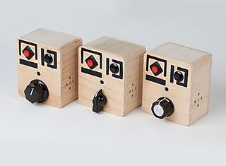 3 different models of the Wooden Robot Voice Recorder