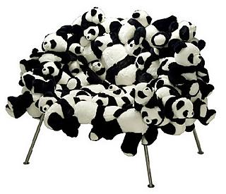 Panda bear plush easy chair designed by Fernando & Humberto Campana