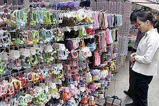 Hair bands made out of condoms for sale at a shop in China