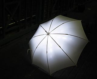 It lights up under pressure from falling raindrops