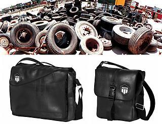 Bolsos negros de Vaho Works fabricados a partir de neumáticos